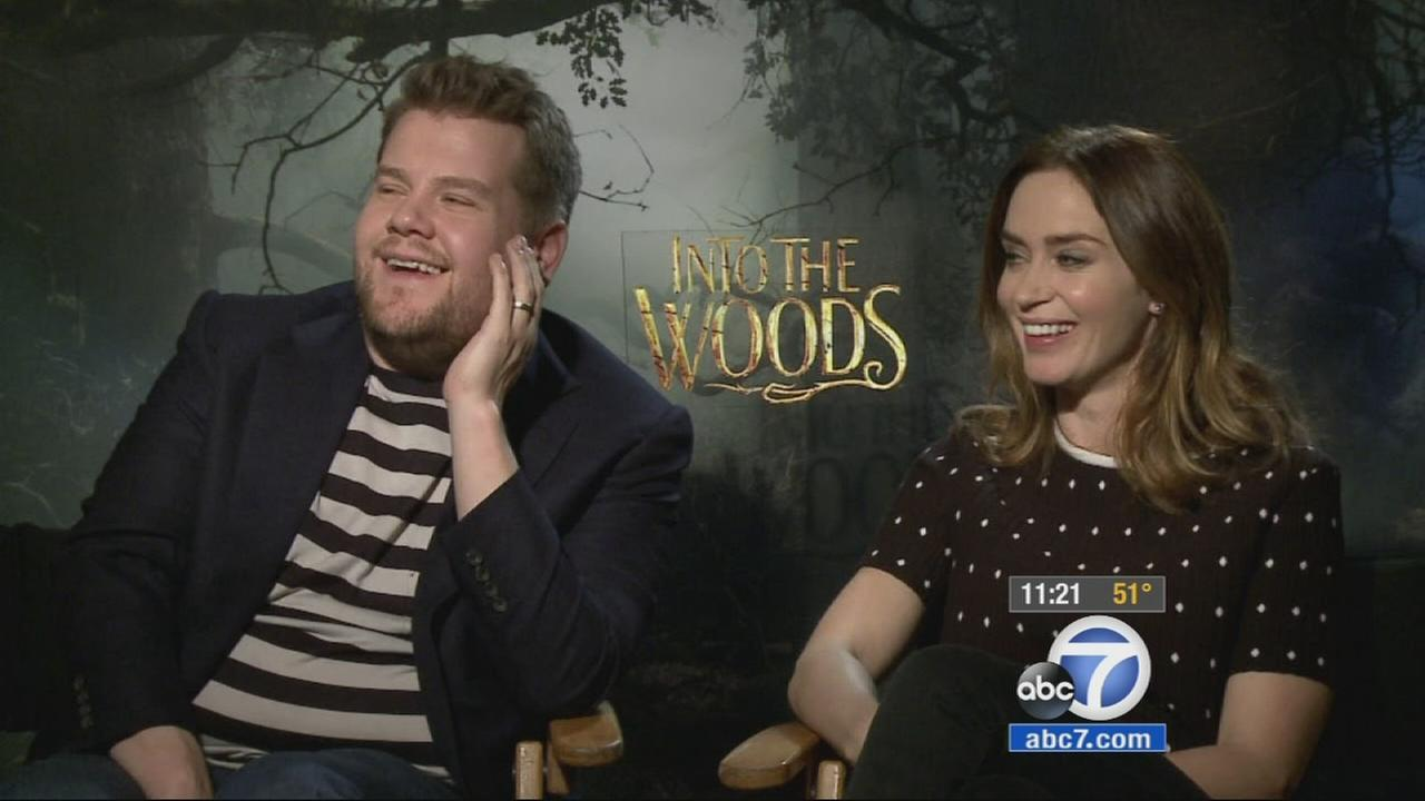 In the movie Into the Woods, actors James Corden and Emily Blunt play husband and wife, and both say making the film was a great experience.
