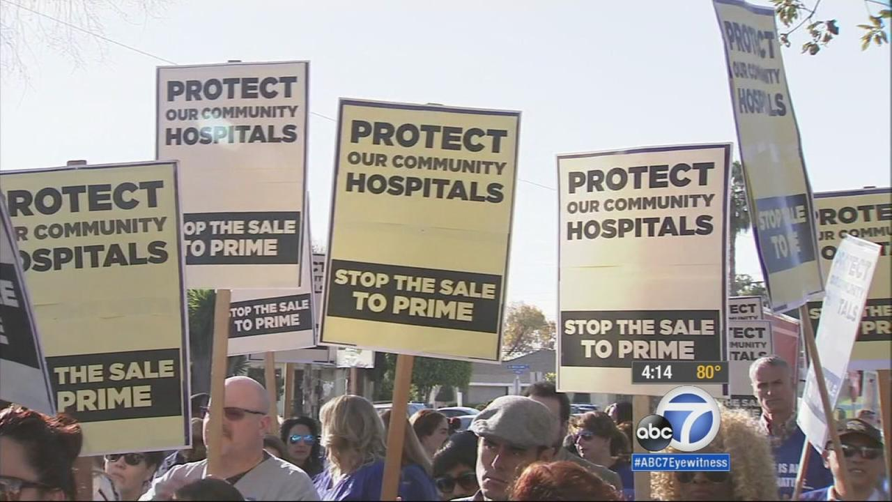 Health care workers rallied together at a hearing Monday regarding the sale of St. Francis Medical Center and other hospitals to Prime Healthcare Services.