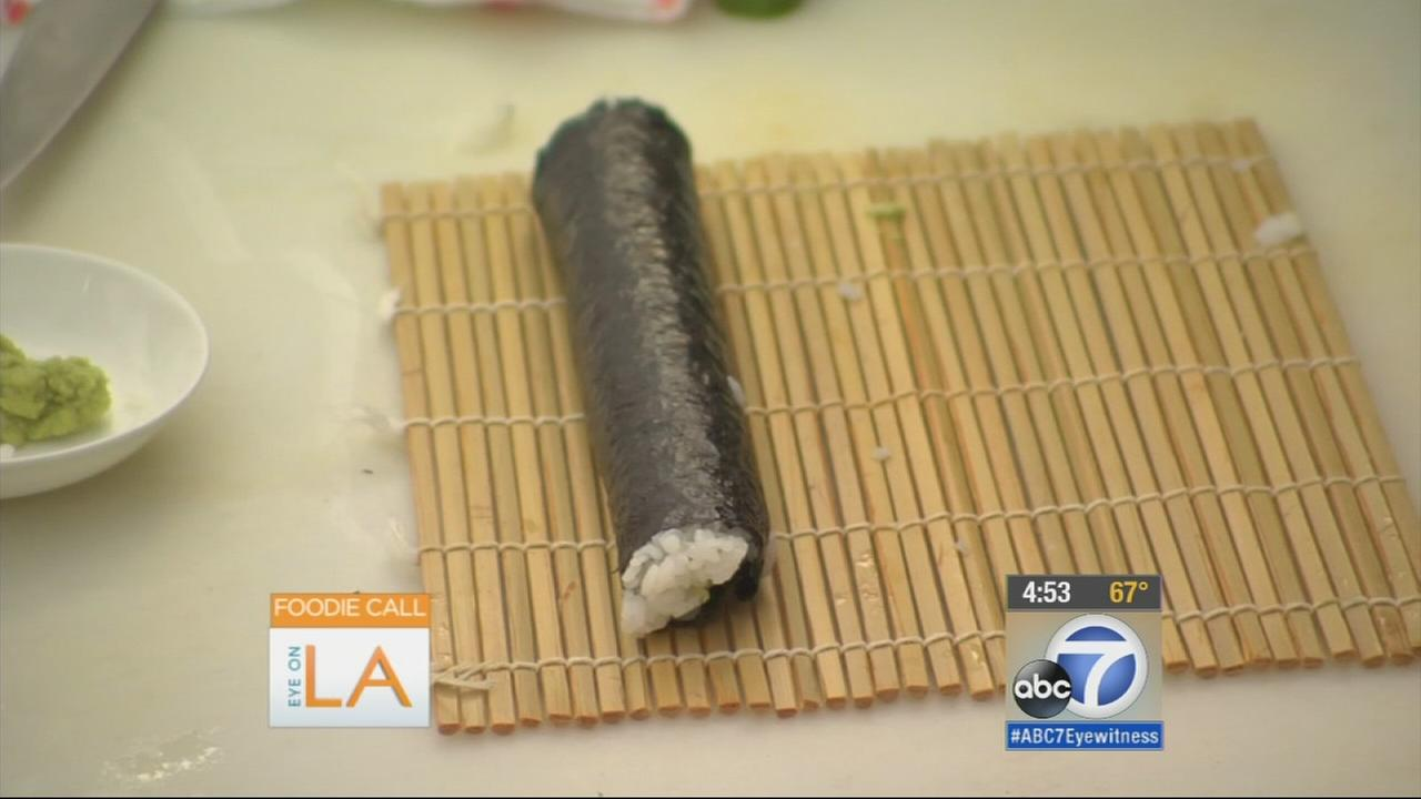 A sushi roll made at California Sushi Academy is shown in this undated file photo.
