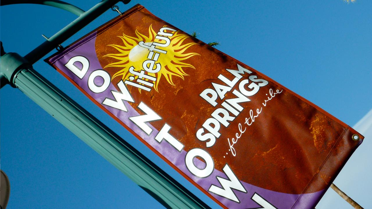 A sign showing downtown Palm Springs is shown in this undated file photo.