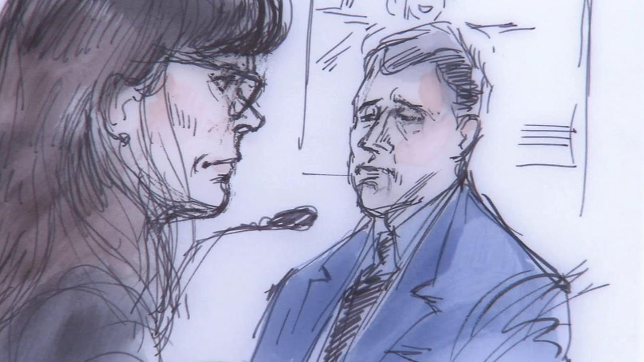 Los Angeles County Sheriffs Det. Steve McCauley testifies in court in this drawing on Monday, Jan. 12, 2015.