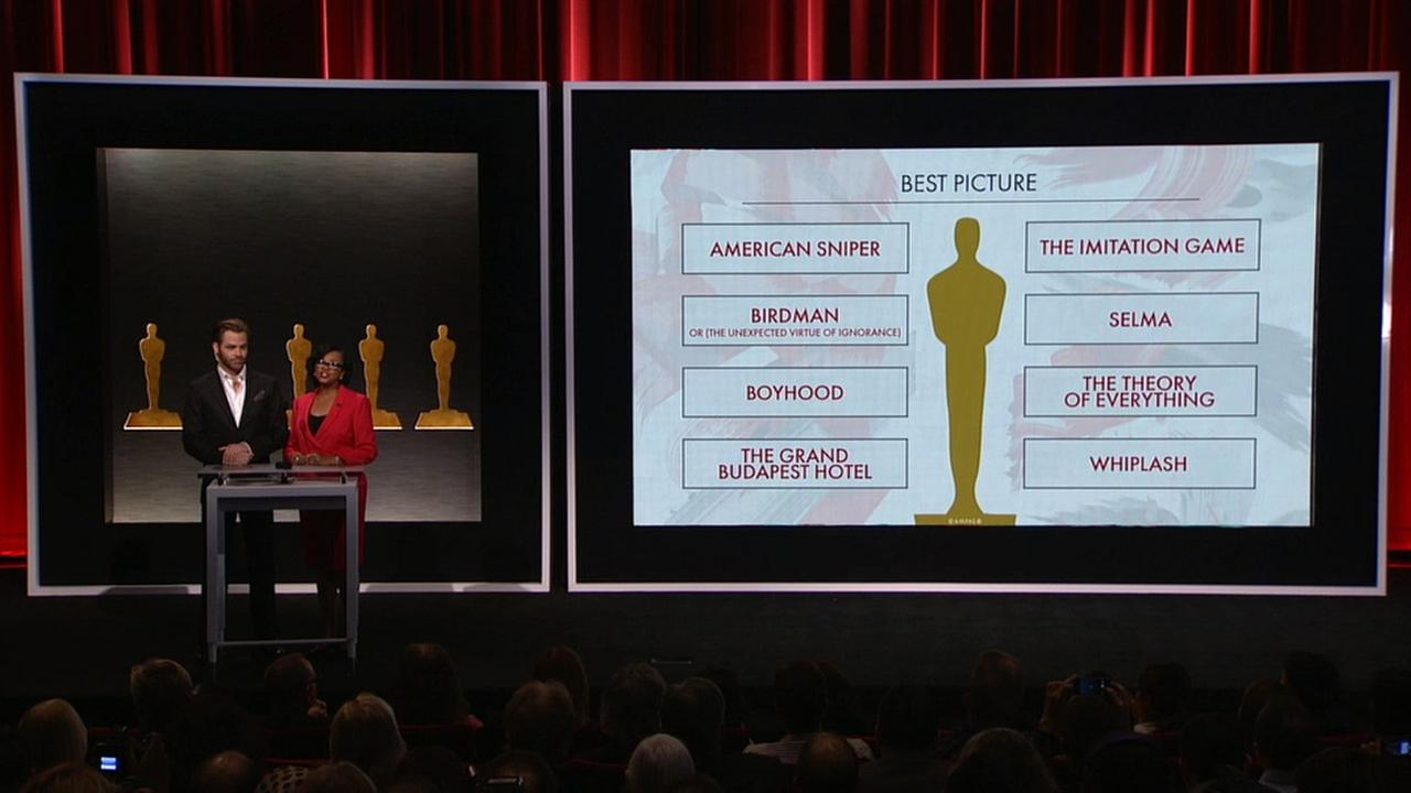 Actor Chris Pine and Academy President Cheryl Boon Isaacs present the nominees for Best Picture on Thursday, Jan. 15, 2015.