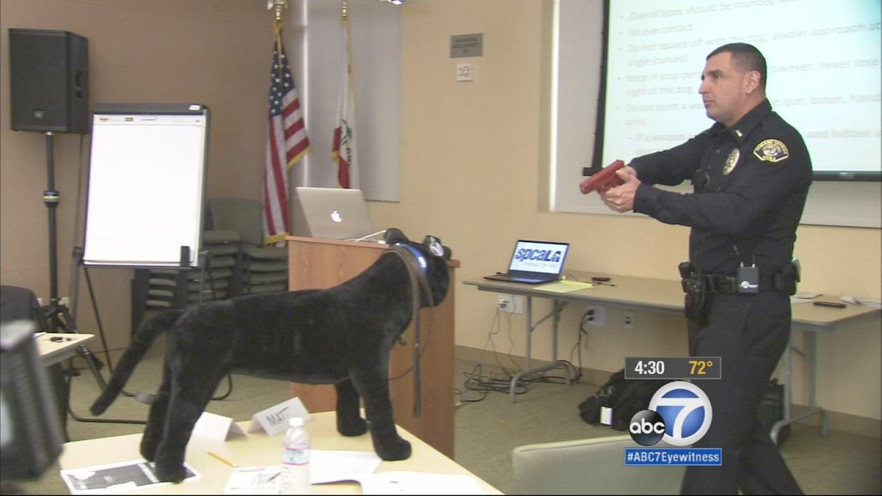 Hawthorne police officers are given training on how to deal with dogs while theyre out in the field in this undated file photo.