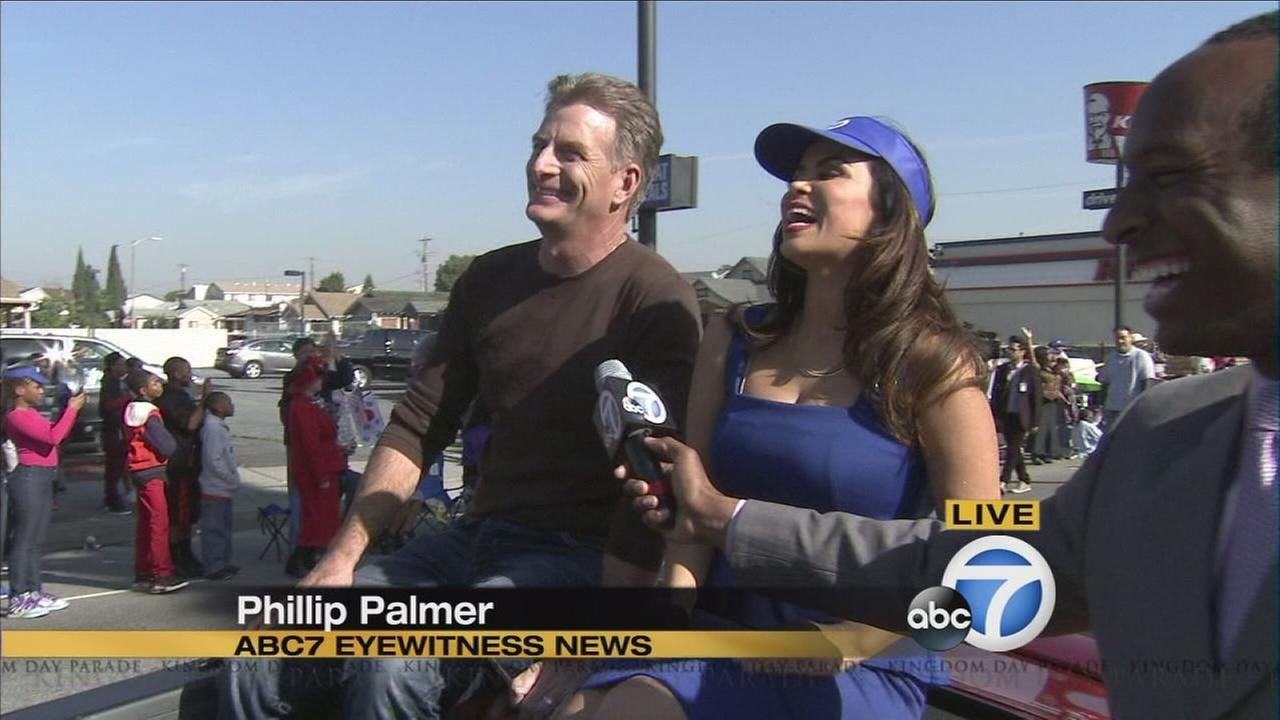 Phillip Palmer and Alysha Del Valle were part of the Kingdom Day Parade honoring the life and legacy of Martin Luther King, Jr. Monday morning in South Los Angeles.