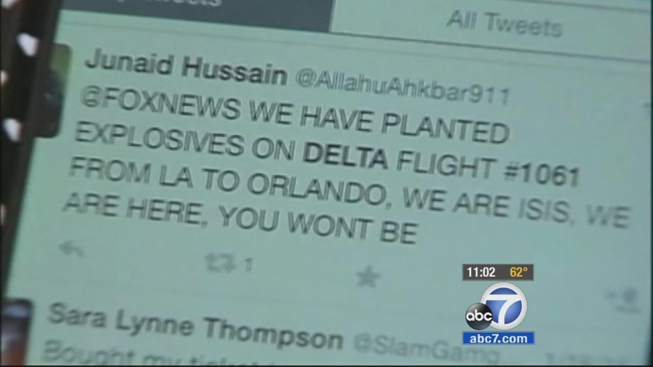 This image shows a tweet that threatened a Delta flight from LAX to Orlando.