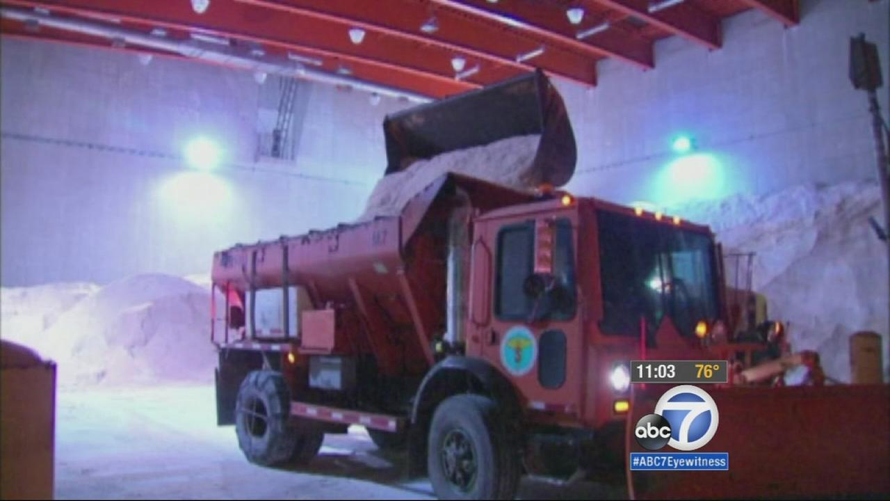Salt trucks load up in preparations for a major storm sweeping the Northeast on Monday, Jan. 26, 2015.