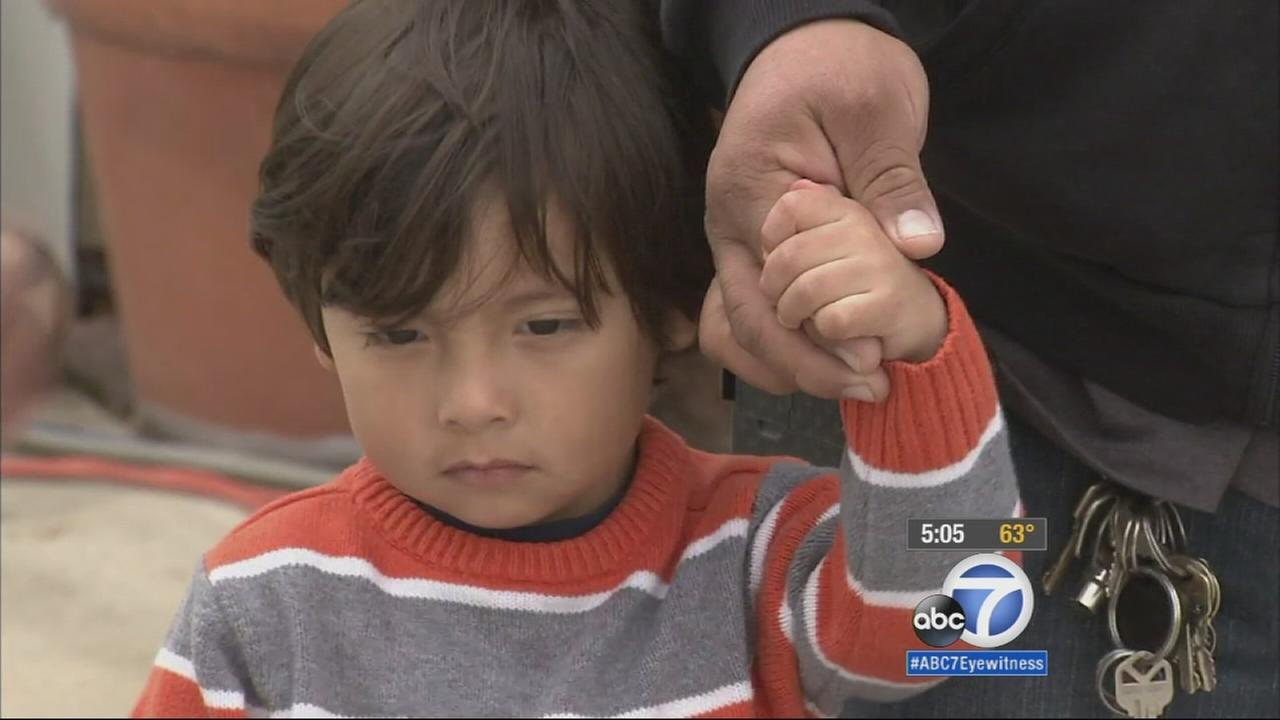 Three-year-old Dylan Hernandez was back home from the hospital on Monday, Jan. 26, 2015, a day after being injured in a shooting in Palmdale.