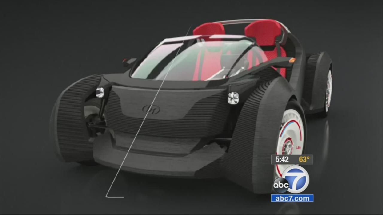 A 3-D printed car makes a stop at El Camino College in Torrance on Monday, Jan. 26, 2015.