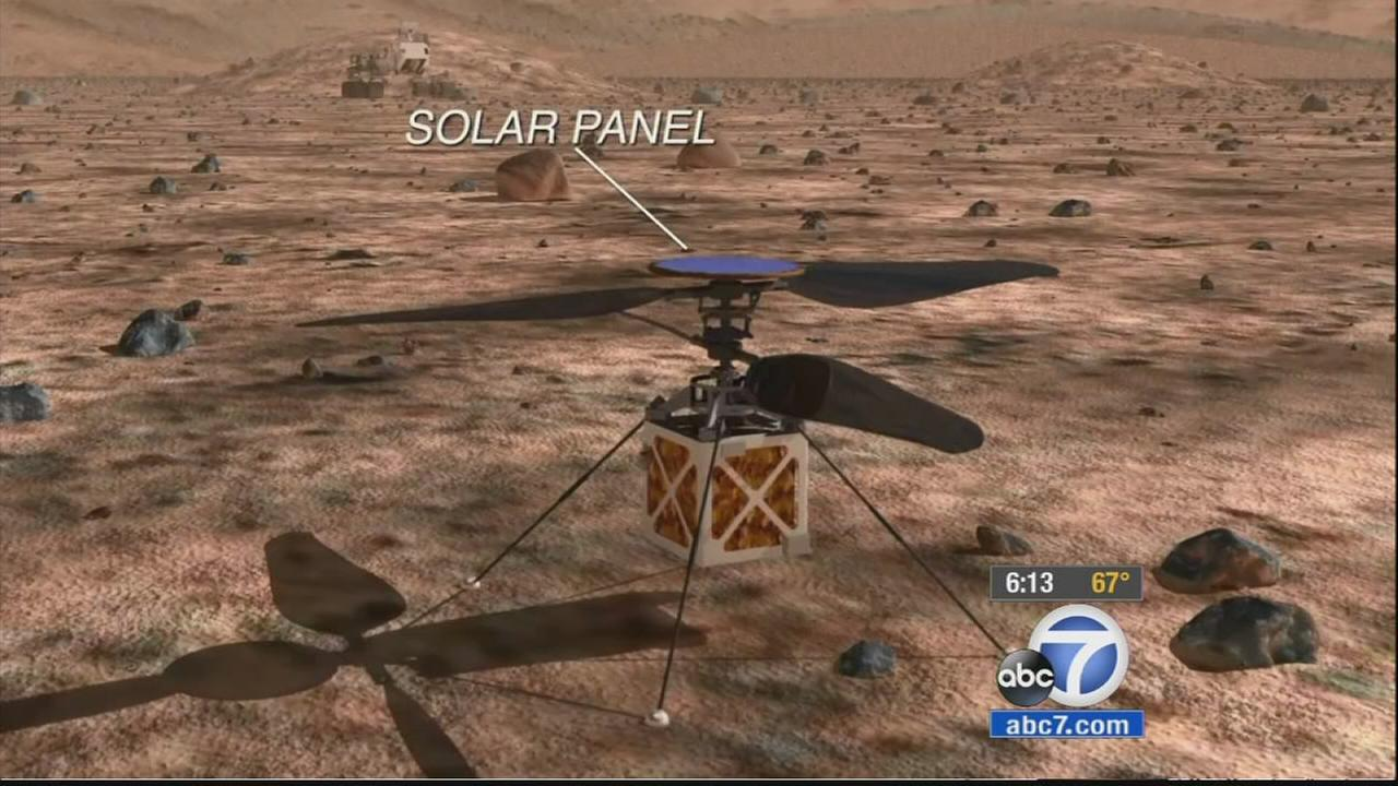 A mock-up of JPLs drone helicopter that may be incorporated on the next Mars Rover mission in 2020.