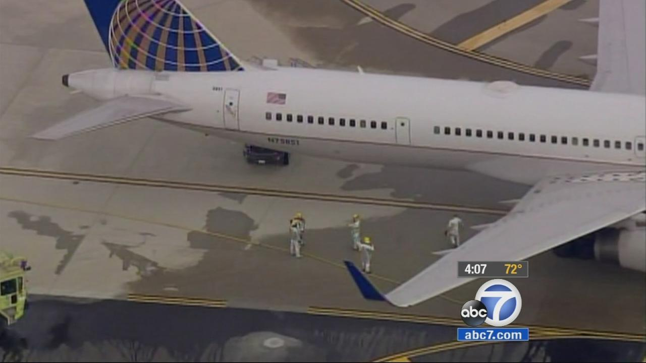 A United Airlines jet made an emergency landing at Ontario International Airport on Thursday, Jan. 29, 2015.