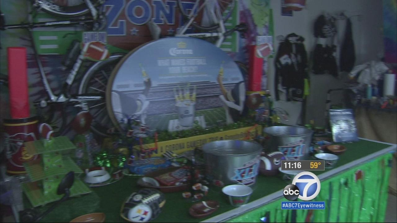 Decorations for the Super Bowl take over a Calabasas home on Friday, Jan. 30, 2015.