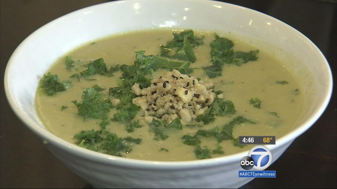 Quinoa, chopped kale and creamy cauliflower soup is shown in this undated file photo.