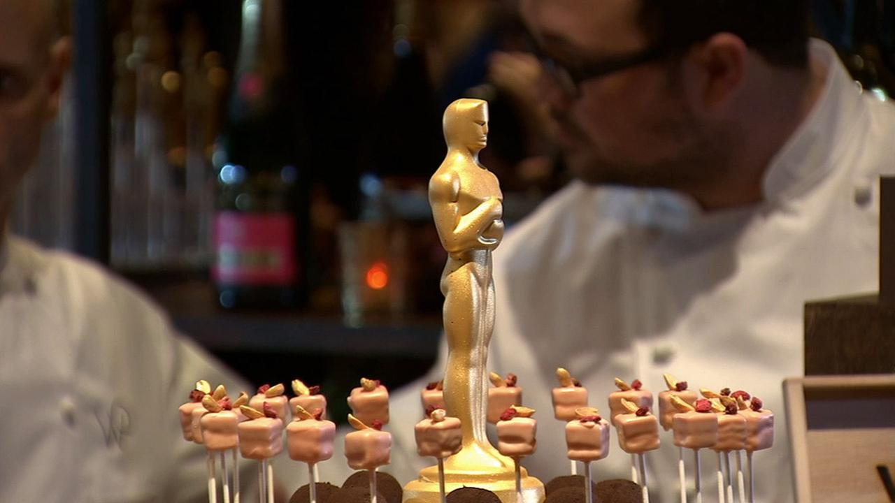 An Oscar dessert is presented at the preview of the food menu for the Governors Ball. Celebrity Chef Wolfgang Puck set up a menu for more than 16,000 people.