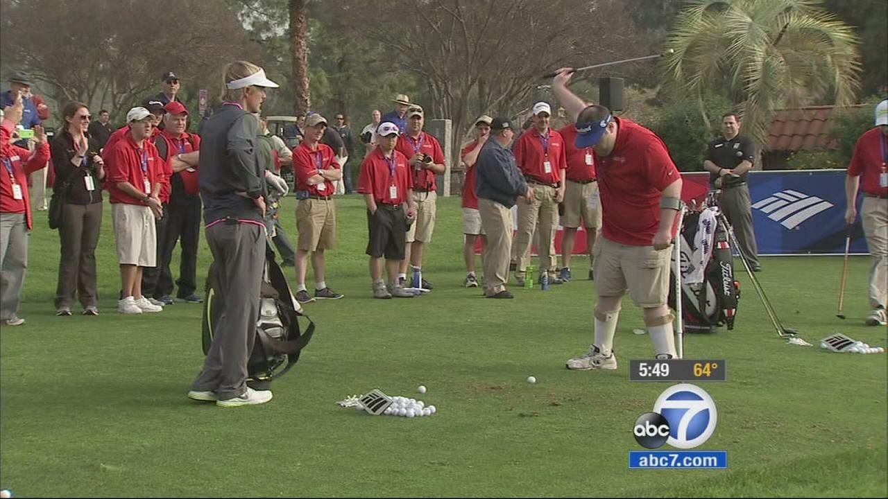 Some of the best golfers in the world gave tips to the U.S. Special Olympics golf team at Griffith Park Tuesday.