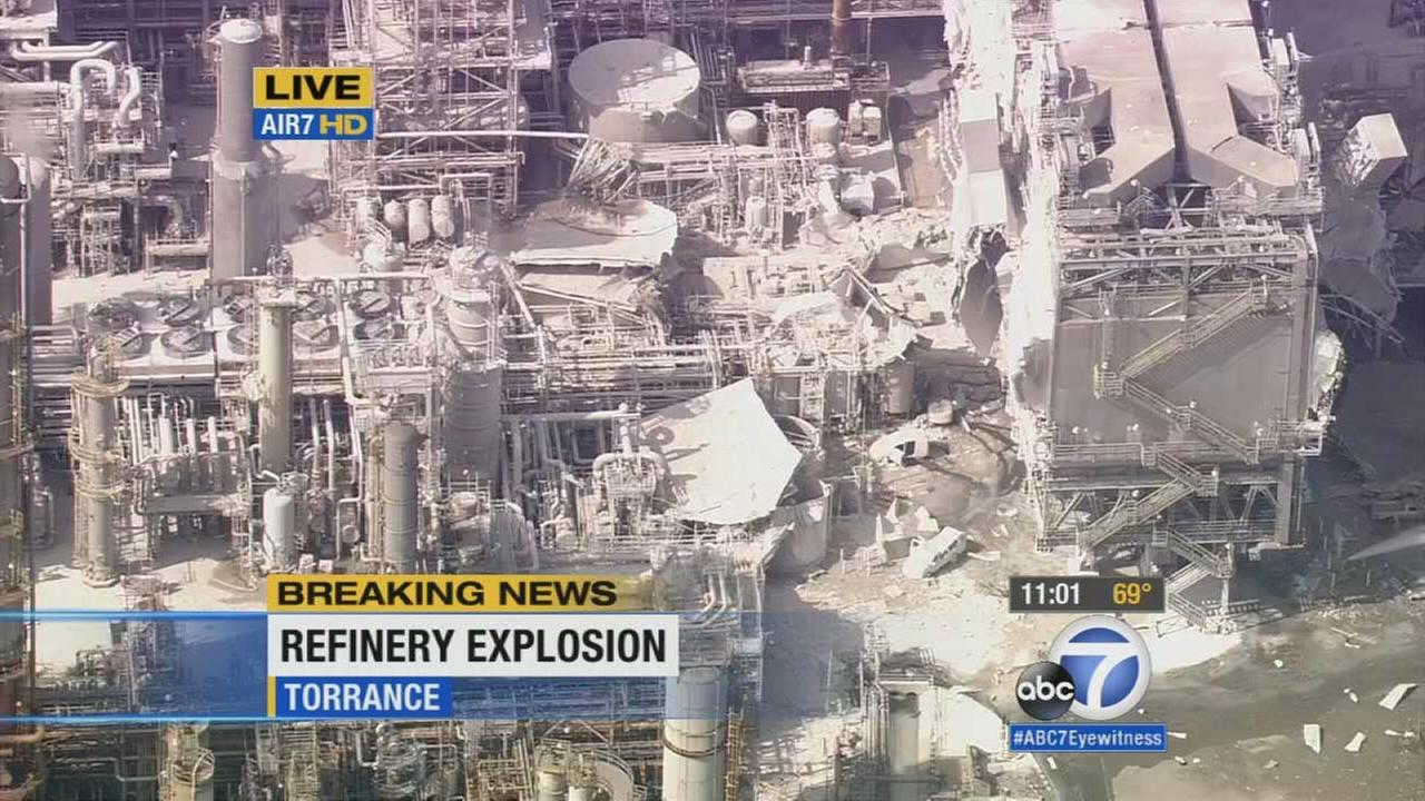 AIR7 HD was over the scene of an explosion at Exxon Mobil refinery in Torrance on Wednesday, Feb. 18, 2015.