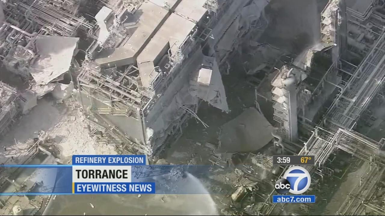 An explosion at the Exxon Mobil refinery caused structural damage and was felt for miles around Torrance on Wednesday, but there were no major injuries.