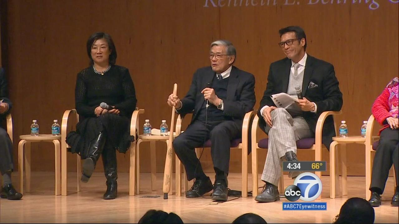 A group of panelists, including ABC7 anchor David Ono, answers questions during an event at the Smithsonian Institution on Thursday, Feb. 19, 2015.