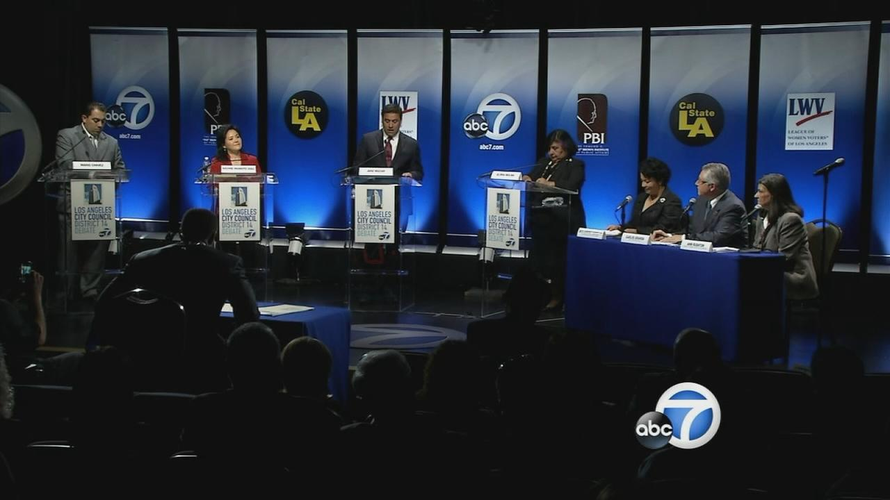 Los Angeles City Council District 14 candidates participate in a debate on Wednesday, Feb. 18, 2015.