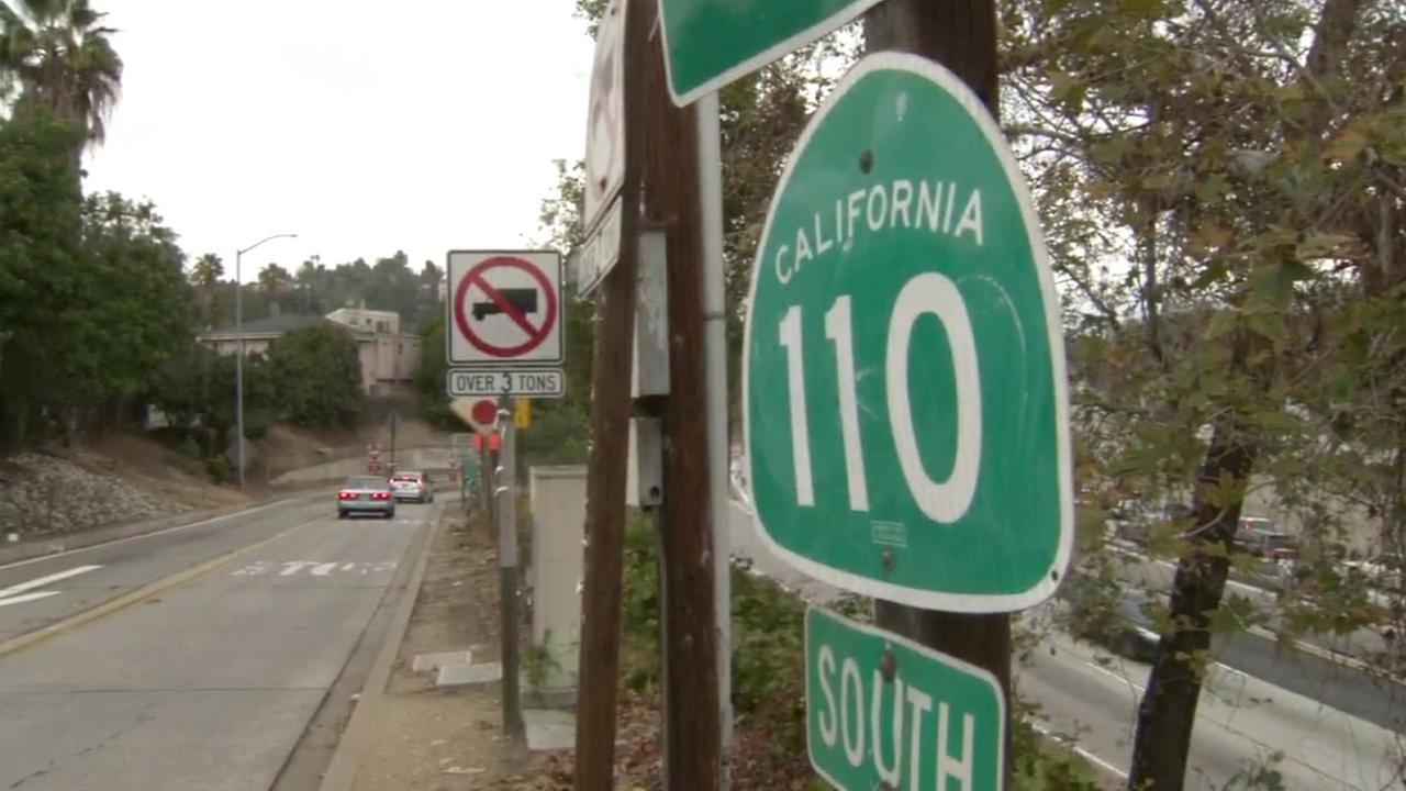 A sign for the southbound 110 Freeway is shown in this undated file photo.