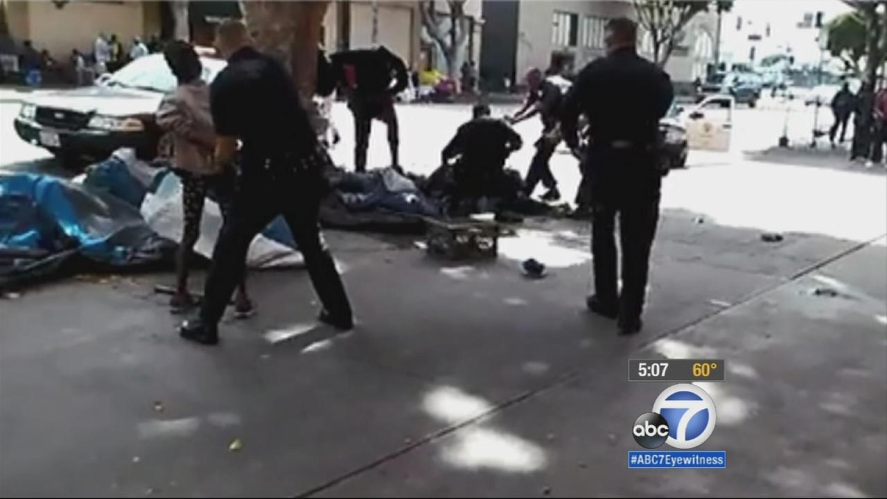 A suspect was killed in an officer-involved shooting in the Skid Row area of downtown Los Angeles on Sunday, March 1, 2015.