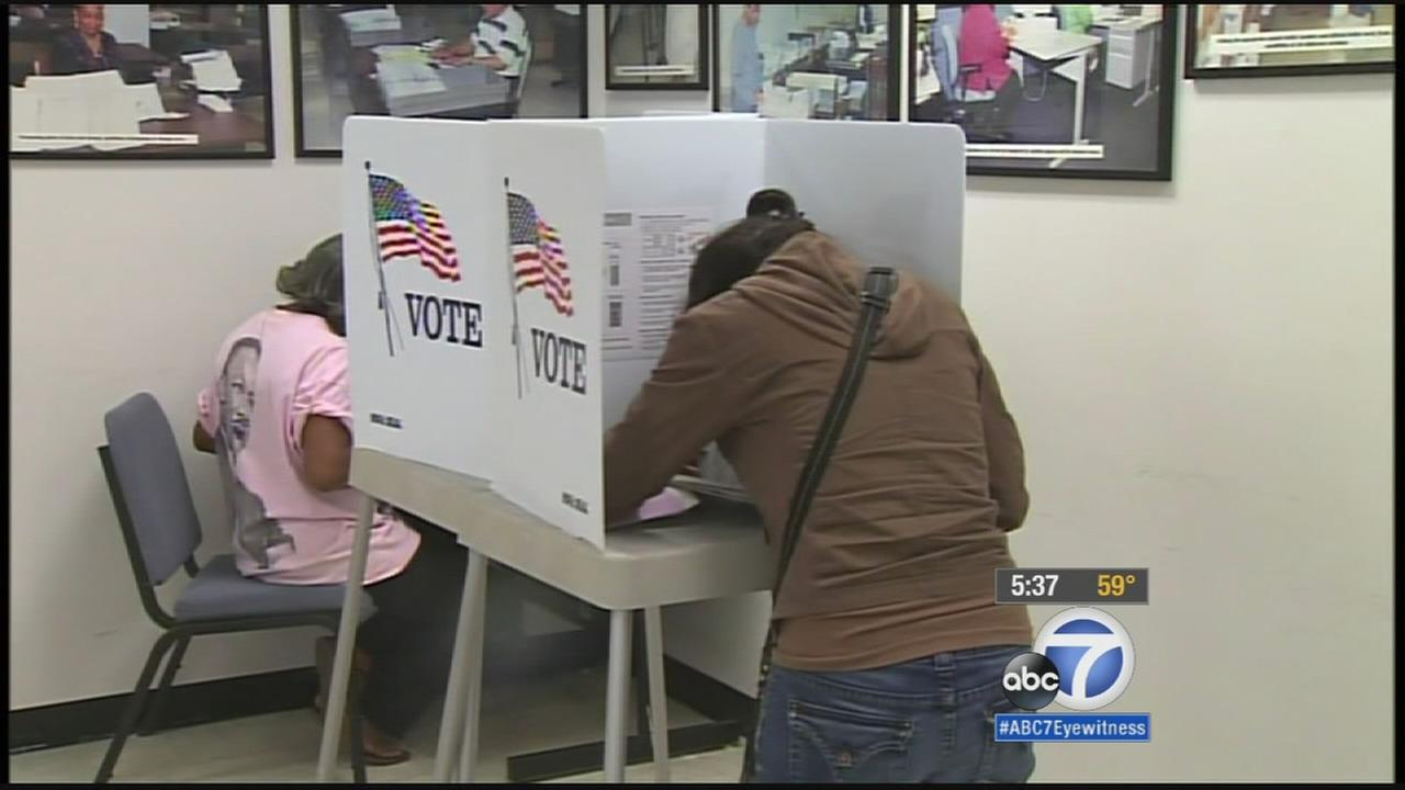 Los Angeles voters heading to the polls Tuesday have a chance to change the dates of city and school board elections.