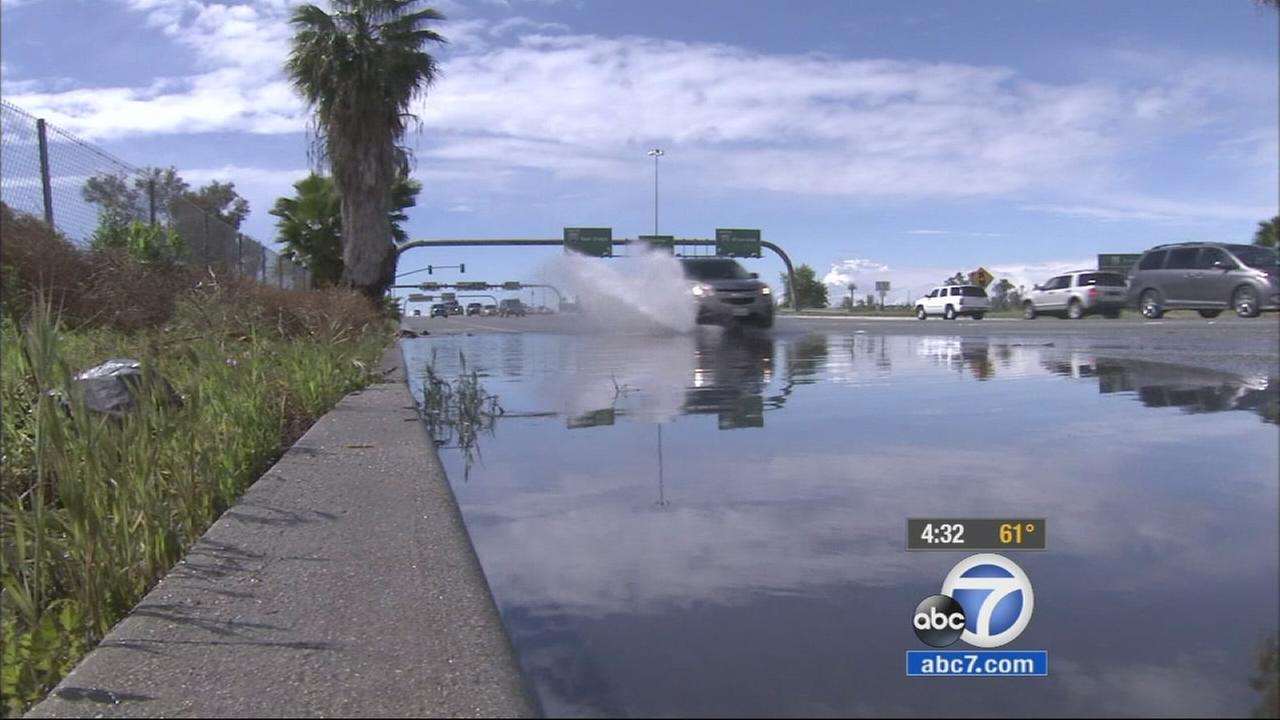 Heavy rain, hail and even a funnel cloud hit the Inland Empire during a fast-moving storm.