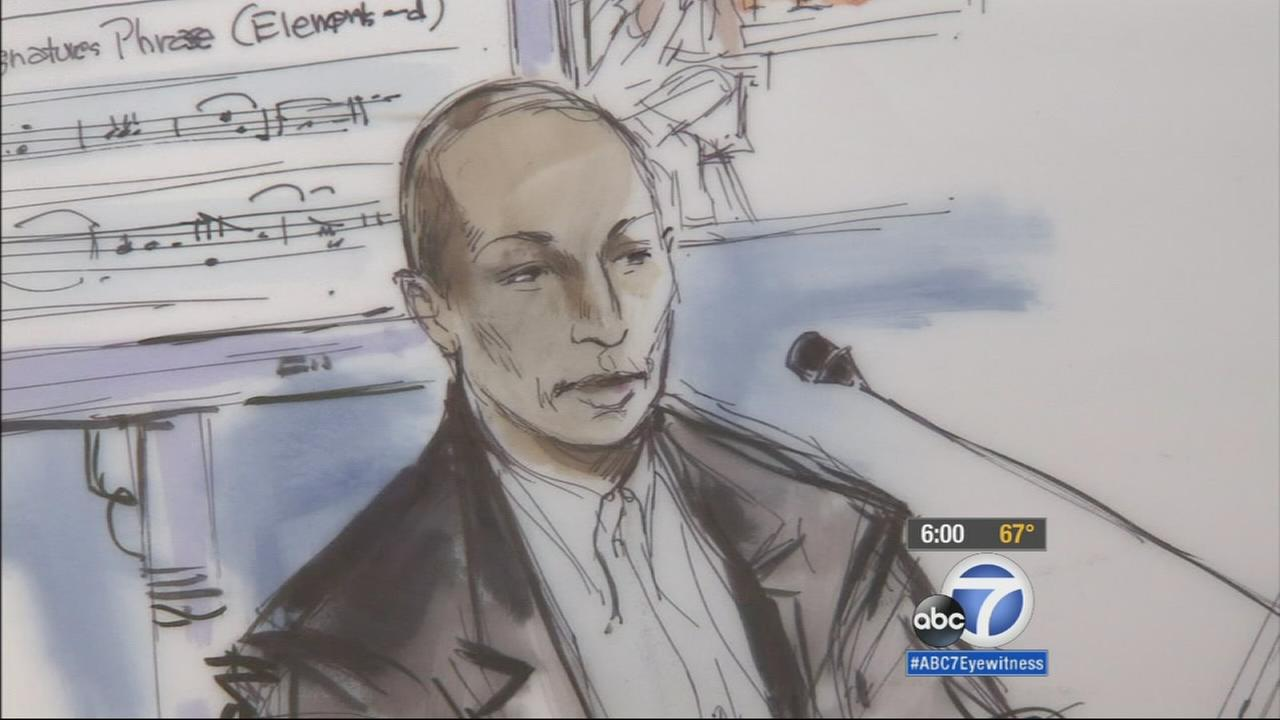 Pharrell Williams testifies in court Wednesday, March 4, 2015.