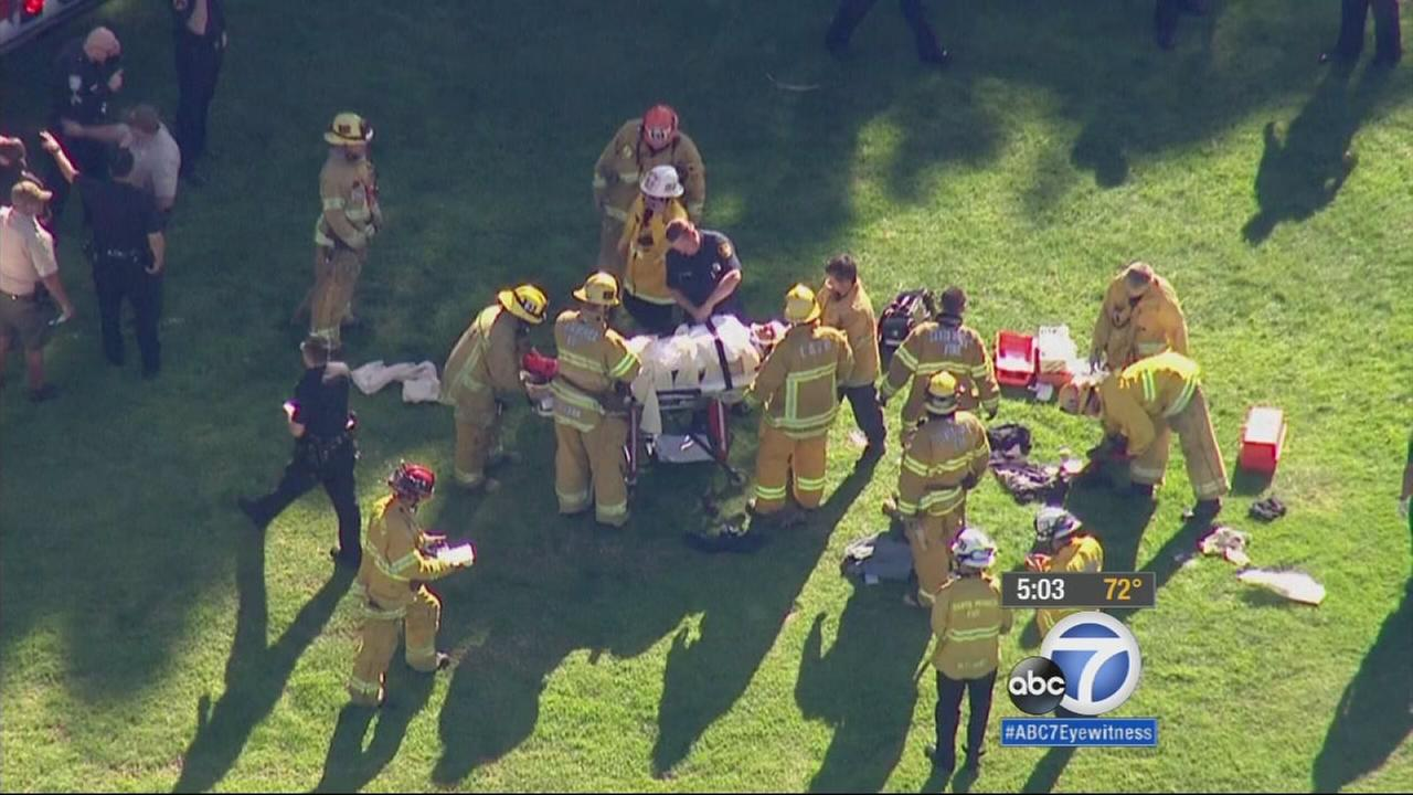 Firefighters treat Harrison Ford after his small plane crashed at a Venice golf course on Thursday, March 5, 2015.