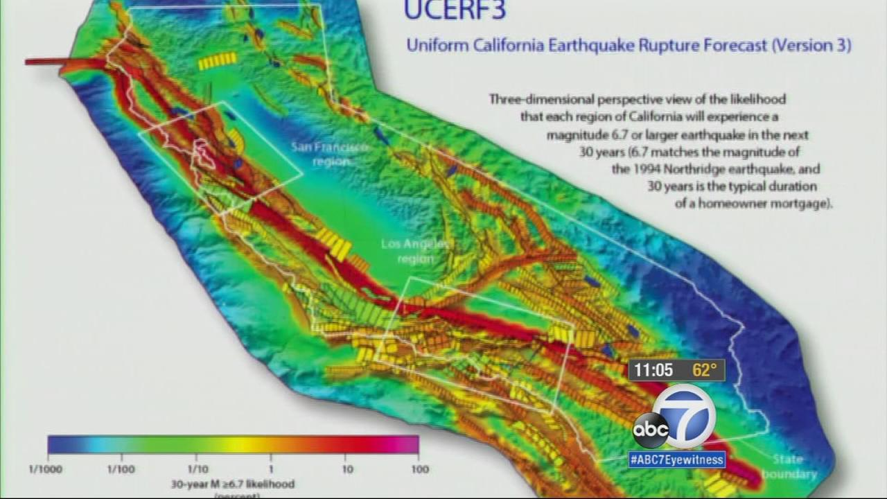 A 3-D perspective of the likelihood that each region of California will experience a magnitude 6.7 or larger earthquake in the next 30 years.