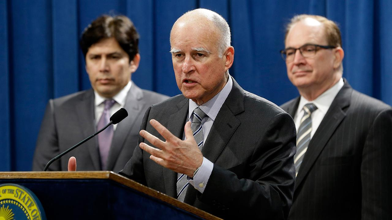 Gov. Jerry Brown answers questions concerning the proposed $1 billion package of emergency drought-relief legislation during a Capitol news conference in Sacramento, Calif., Thursday, March 19, 2015.