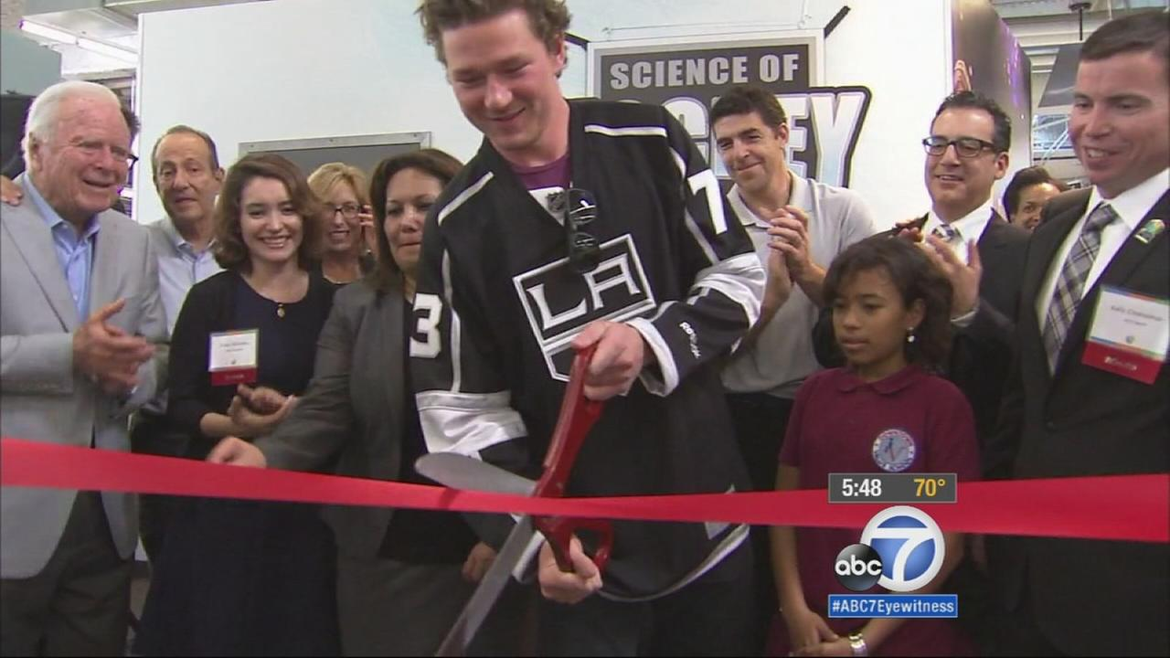 The Los Angeles Kings and the Discovery Cube partnered together to create the Science of Hockey exhibit to help teach kids how to play the sport using math and science.