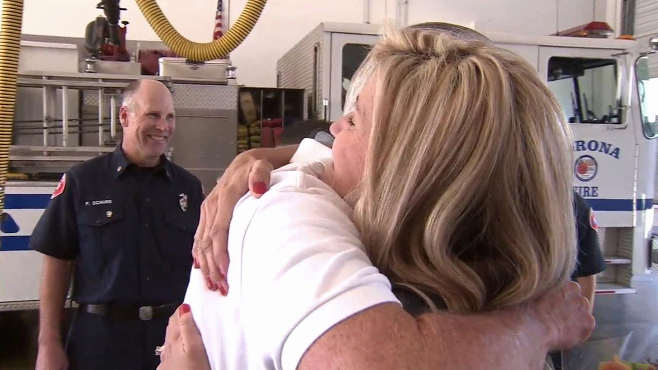 A heart attack survivor had the chance to thank a Good Samaritan who saved his life when the pair reunited at the Corona Fire Department station.