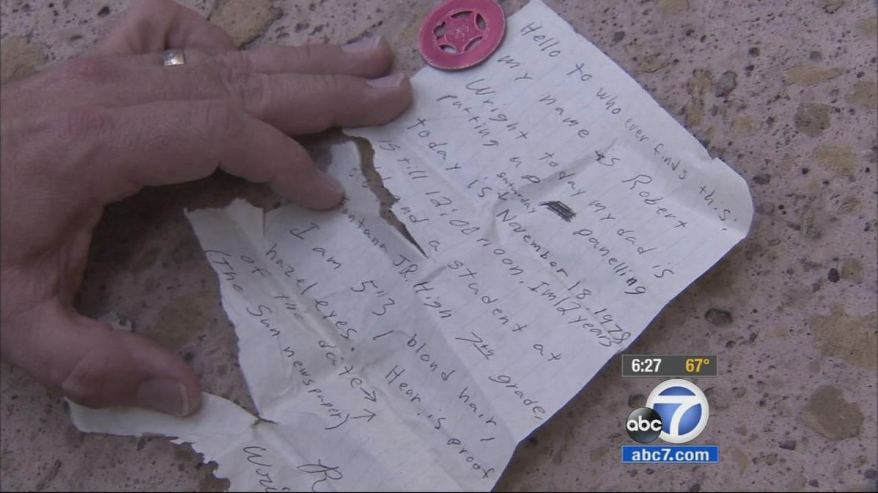 A time capsule that was discovered in a Fontana home has been returned to the person who hid it decades ago.