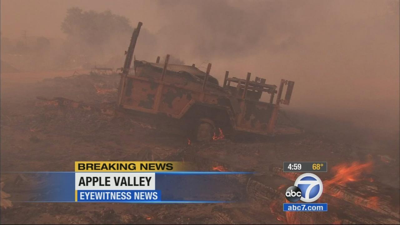A brush fire that erupted in Apple Valley burned dangerously close to homes on Tuesday afternoon.