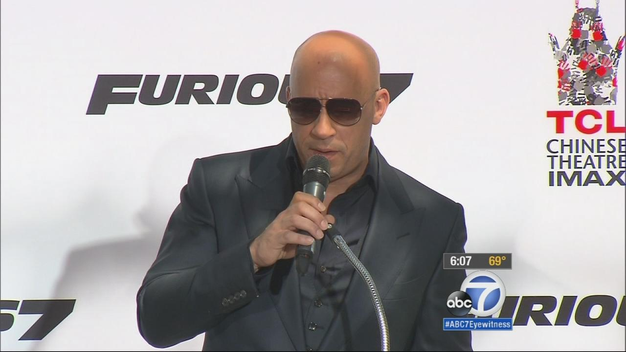 Vin Diesel speaks at the premiere of Furious 7 on Wednesday, April 1, 2015.