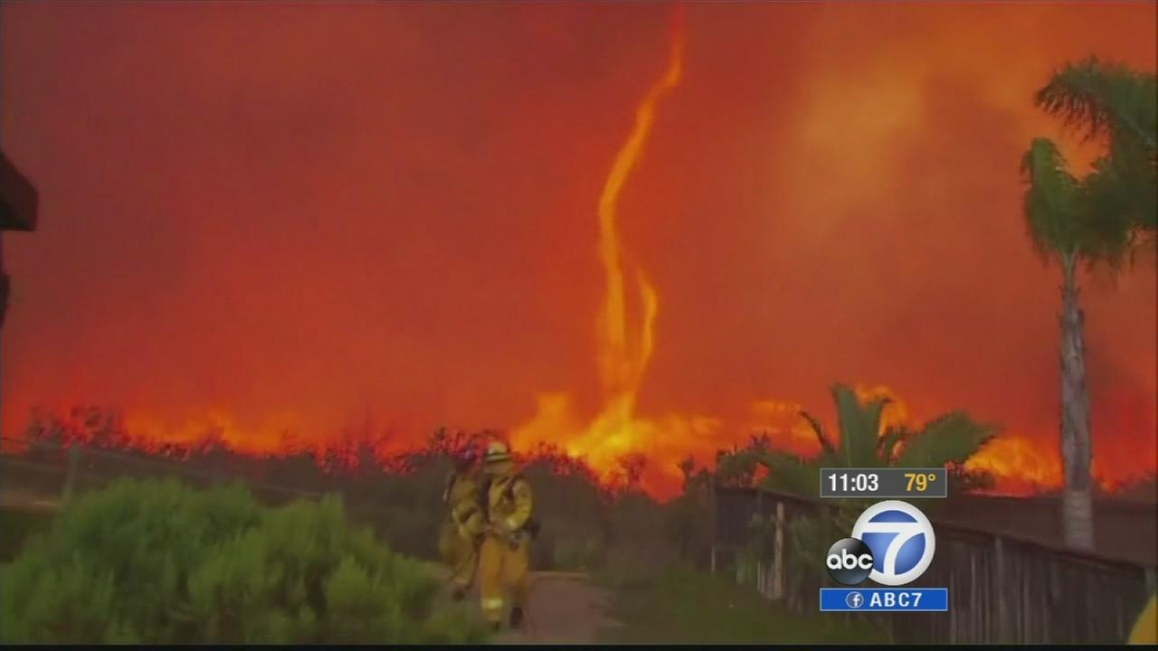 A fire burns in San Diego County on Thursday, May 15, 2014.