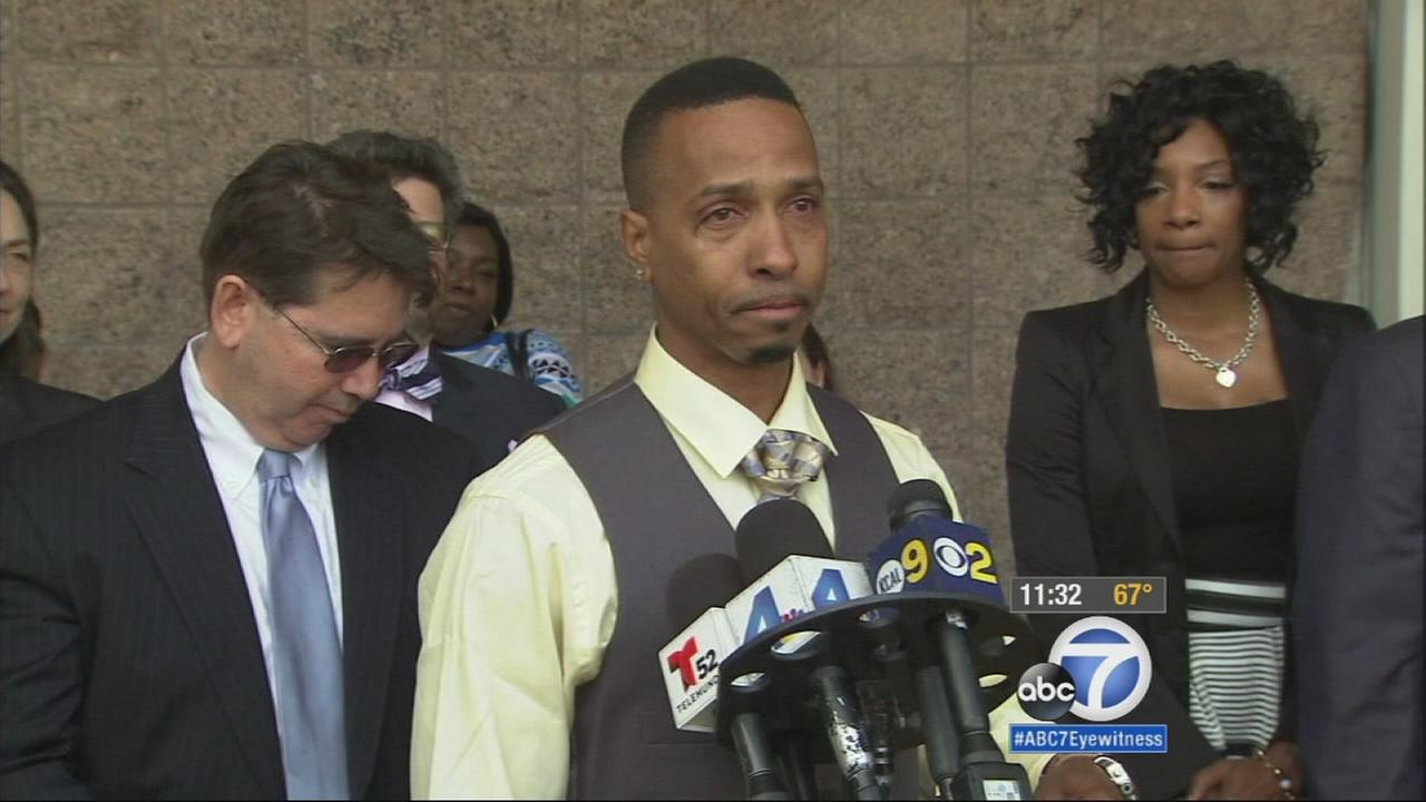 Obie Anthony speaks outside a Compton courthouse following the announcement of a settlement with the city of Los Angeles on Monday, April 13, 2015.