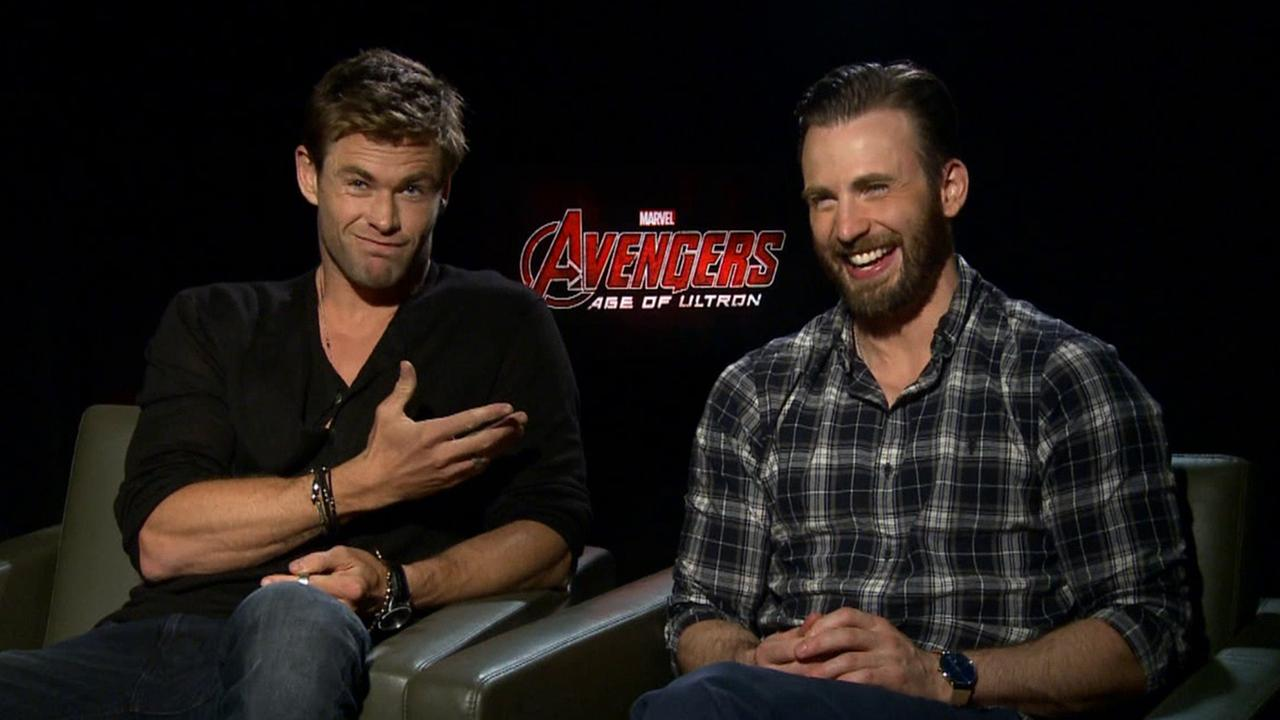 Chris Hemsworth and Chris Evans promote the film Avengers: Age of Ultron.