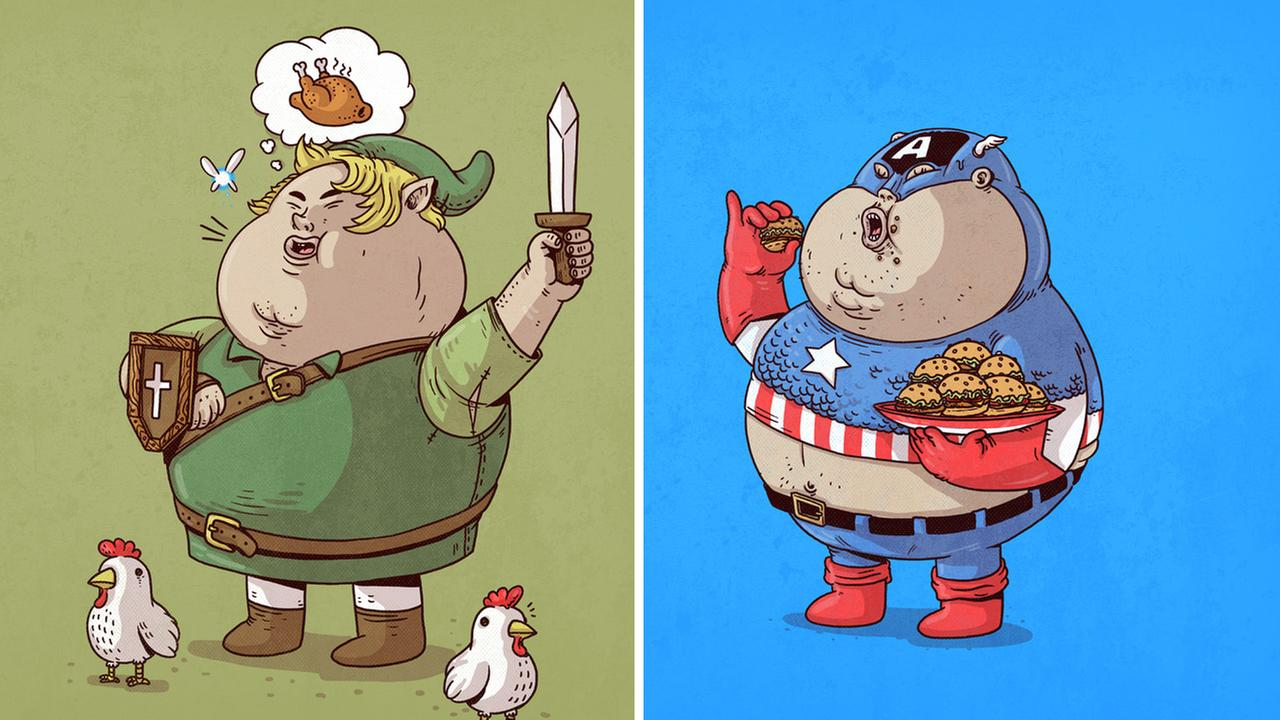 Artist Alex Solis depicts famous characters in a chunky form to show kids what eating junk food can do to the body.