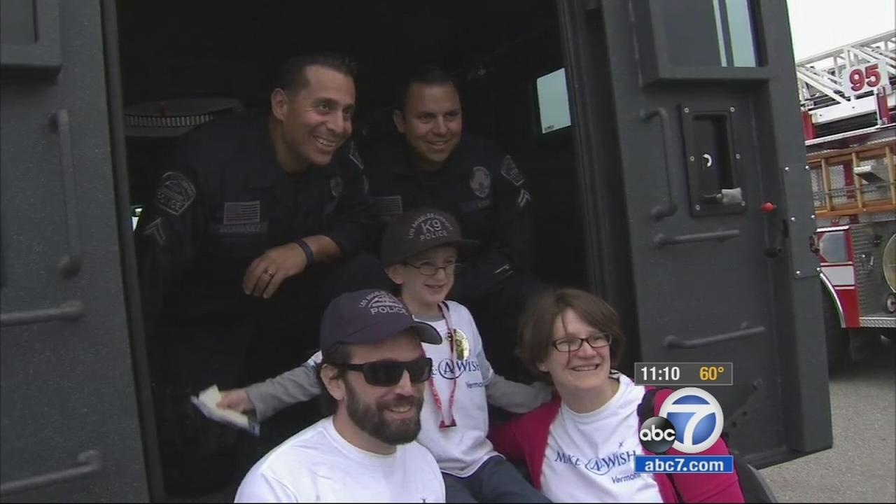 An 8-year-old boy who wishes to protect and serve the city of Los Angeles had his dream come true thanks to the Make-A-Wish Foundation.