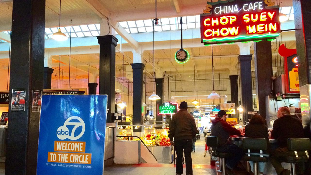 ABC7 holds its second Pop-Up News Bureau in Grand Central Market in downtown Los Angeles on Friday, April 24, 2015.