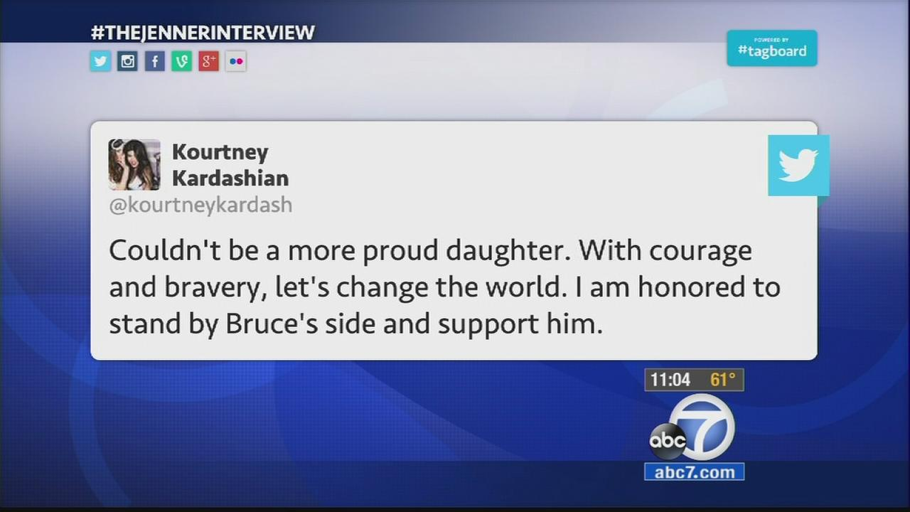 An outpouring of support flooded social media as Bruce Jenner: The Interview aired on ABC.