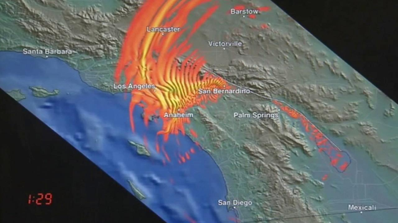 A computer simulation put together by the Southern California Earthquake Center shows shaking from a 7.7-magnitude quake that strikes at the southern tip of the San Andreas fault.
