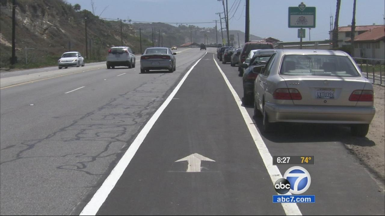 Malibus first-ever bike lane along Pacific Coast Highway officially opened on Wednesday, April 29, 2015.