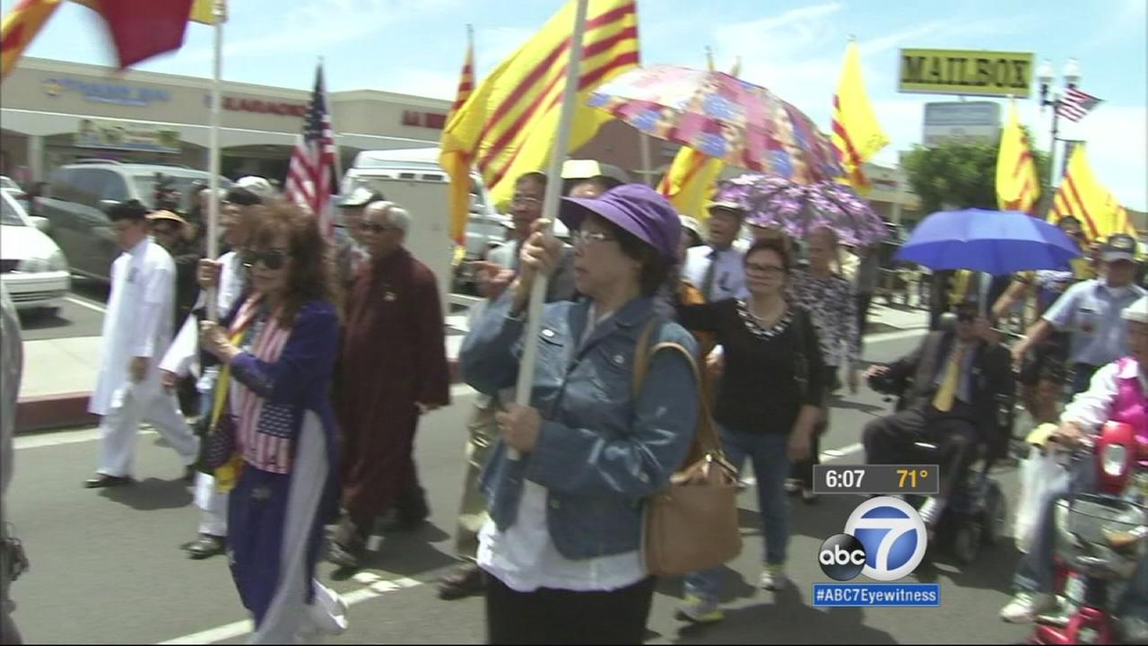 Residents of Little Saigon in Orange County marched down streets for the 40th anniversary of the fall of Saigon.