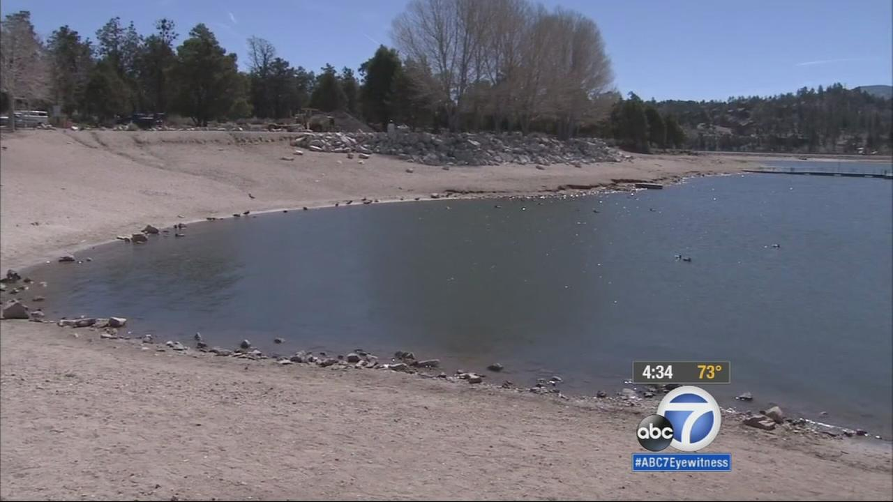 Water levels at Big Bear Lake are down 11 feet in 2015.