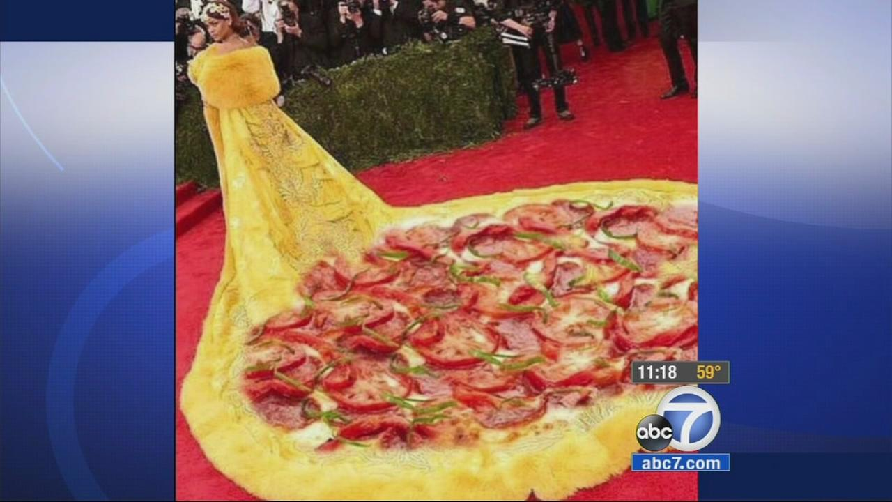 Rihanna is shown wearing a pizza dress at the Met Gala on Monday, May 4, 2015.