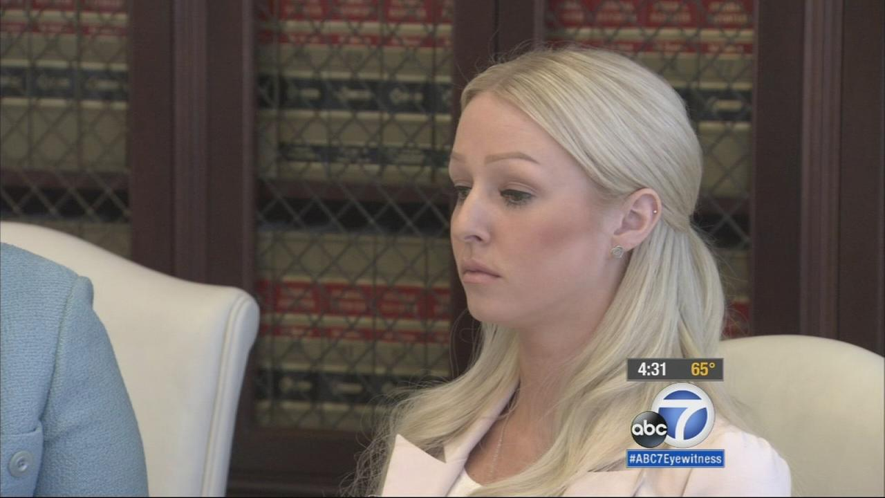 The woman who filed a lawsuit against Chicago Bears defensive end Ray McDonald and San Francisco 49ers linebacker Ahmad Brooks sits with her lawyer on Wednesday, May 6, 2015.