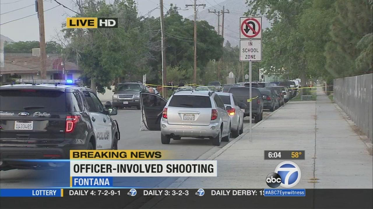 Fontana police officers shot and injured a man who ran from them during a domestic dispute investigation.