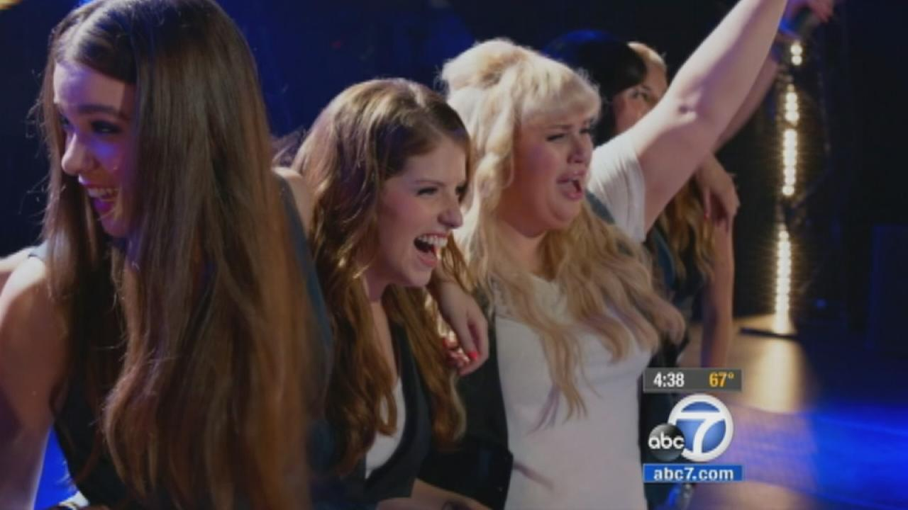 Hailee Steinfeld, Anna Kendrick and Rebel Wilson star in Pitch Perfect 2.
